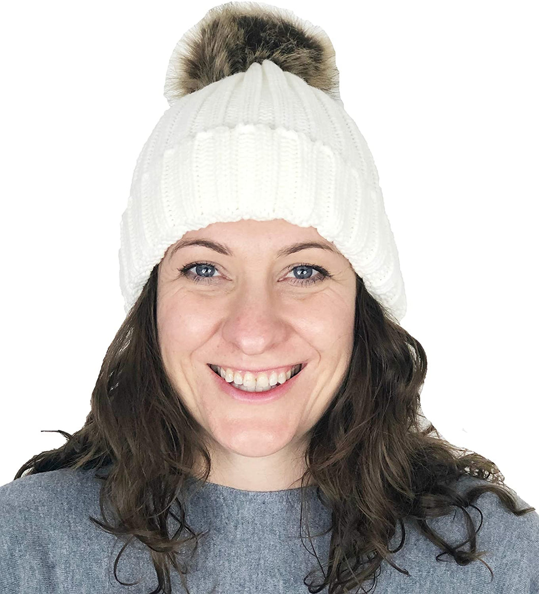 Pamper Yourself Now Cream hat/Beanie with detatchable Fake Fur Bobble pom pom