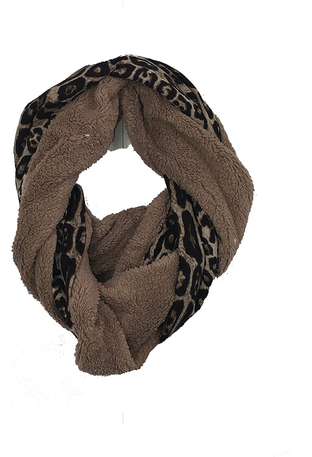 Pamper Yourself Now Chunky beige with brown leopard print snood