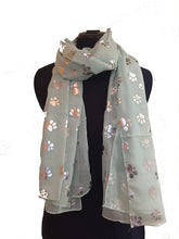 Load image into Gallery viewer, Pamper Yourself Now Aqua Green with Silver Dog paw Print Long Scarf.