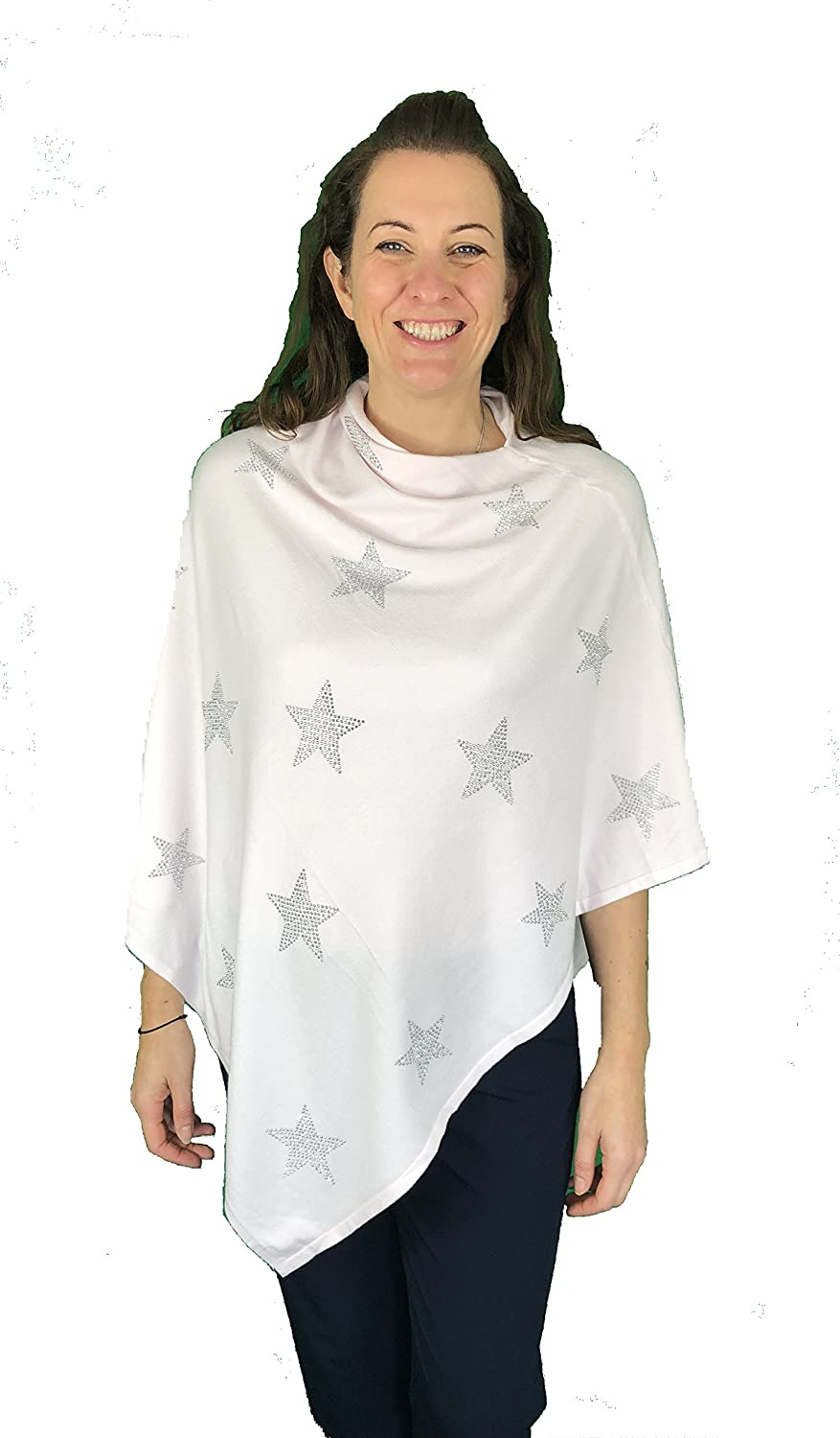 Pamper Yourself Now Baby Pink with Silver Glitter Star Straight Neckline Poncho