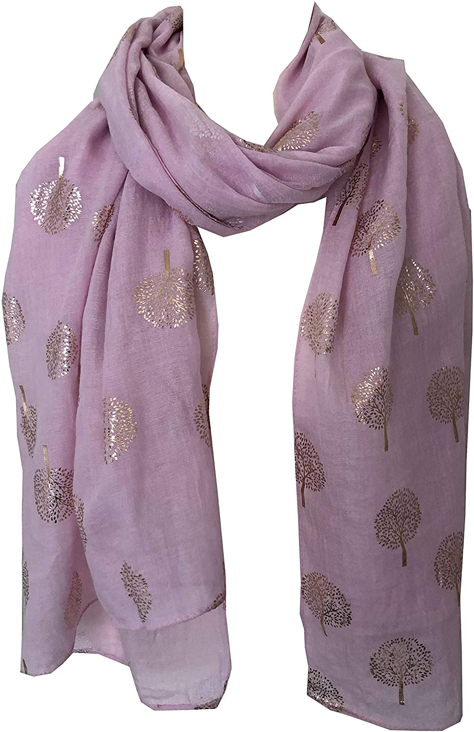 Pamper Yourself Now Pink with Gold Foiled Mulberry Tree Design Ladies Scarf/wrap. Great Present for Mum, Sister, Girlfriend or Wife.
