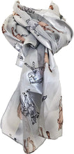 Load image into Gallery viewer, Pamper Yourself Now Light Grey Running Horse Shiny Thin Pretty Scarf