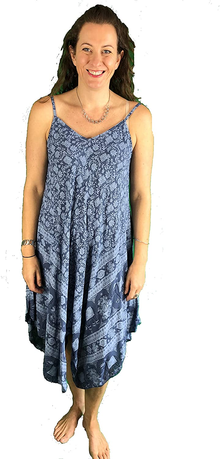 Pamper Yourself Now ltd Blue with Blue Elephant Design Handkerchief Dress 100% Viscose. One Size Recommended Fits Size 12-20 Made in Italy (AA74)
