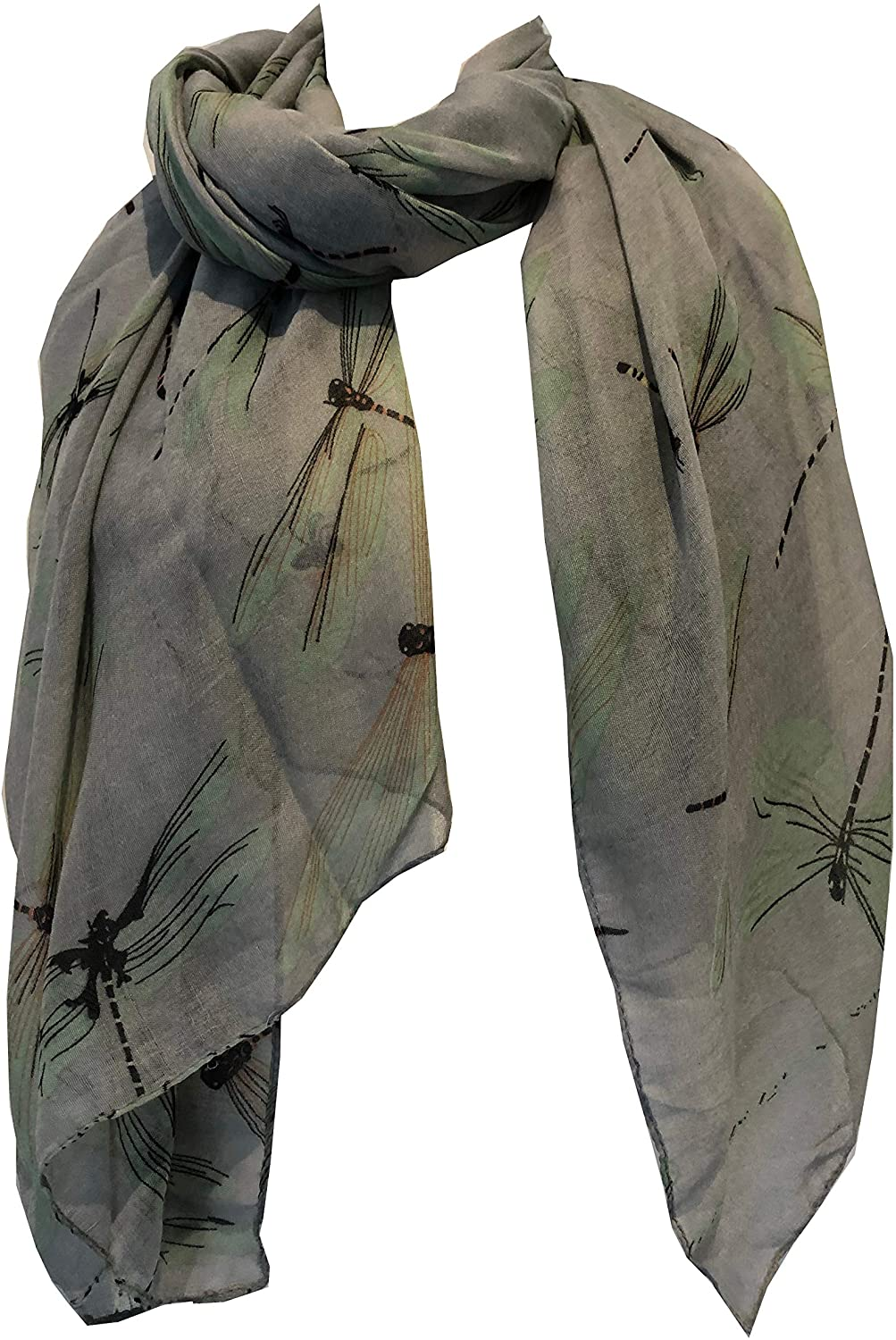 Pamper Yourself Now Grey with Coloured Big Dragonfly Design Scarf Lovely Soft Scarf Fantastic Gift
