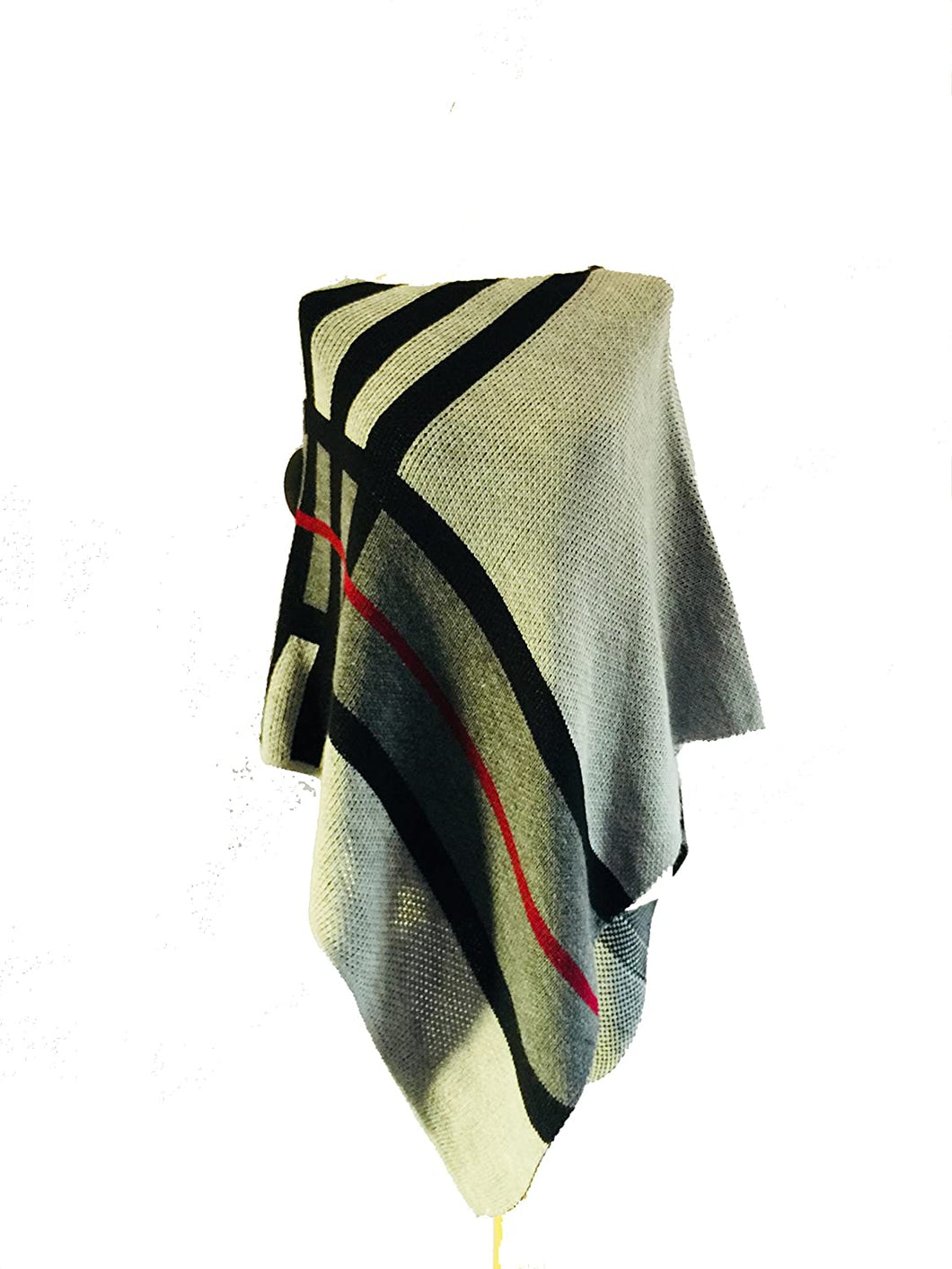 Pamper Yourself Now AA37 Grey with Black/Grey/red Detailed Straight Neckline Lightweight Poncho