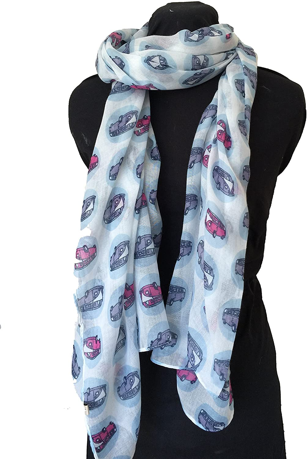 White with VW Campervan Design Scarf Long Scarf