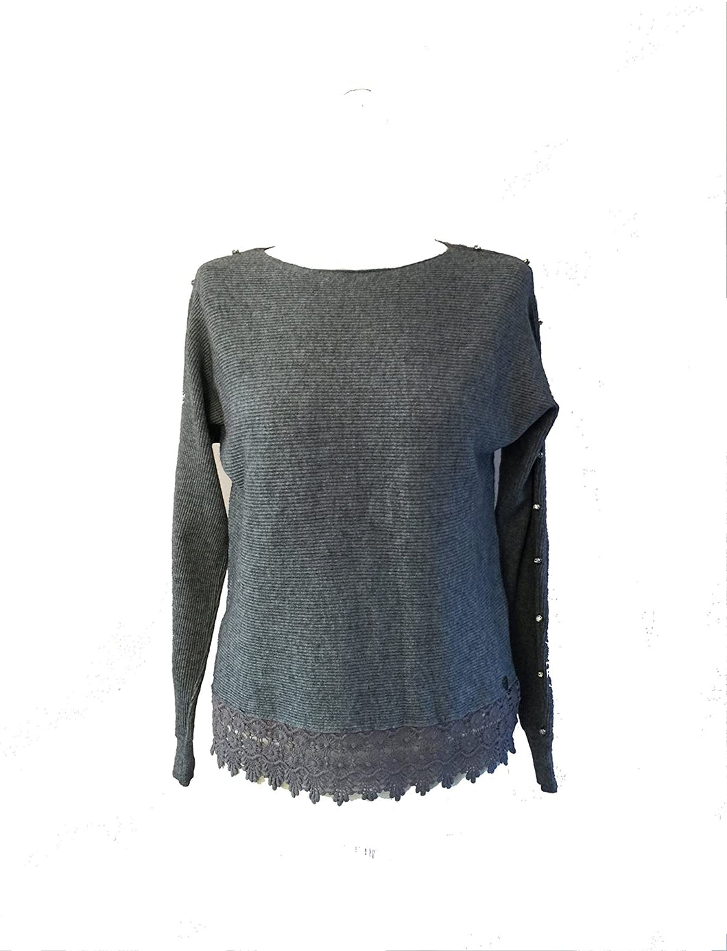 Pamper Yourself Now ltd Grey Jumper with Diamante arms and lace Trim at Front. Made in Italy (AA43)