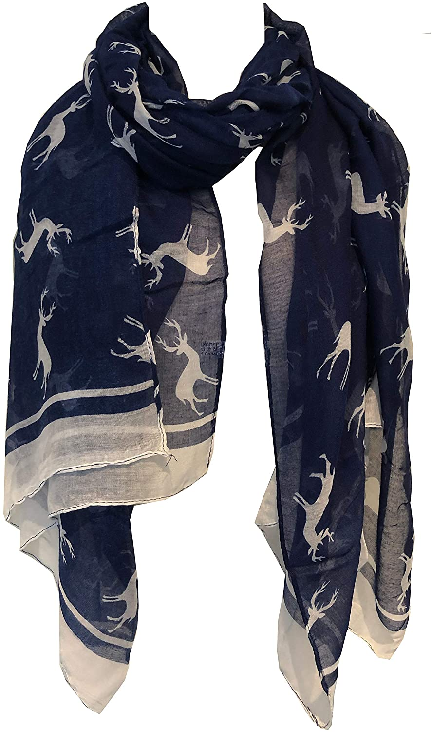 Pamper Yourself Now Blue with White Reindeer Design Scarf with Border. Lovely Long Soft Scarf Fantastic Gift
