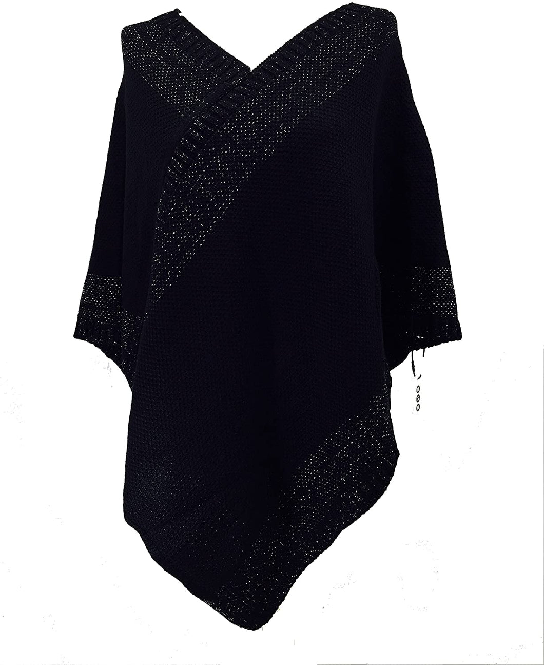 Pamper Yourself Now Black with Silver Thread V Neck Poncho