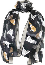 Load image into Gallery viewer, Ladies shiny cat scarf with multi-coloured cats thin scarf, Great gift for cat lovers.