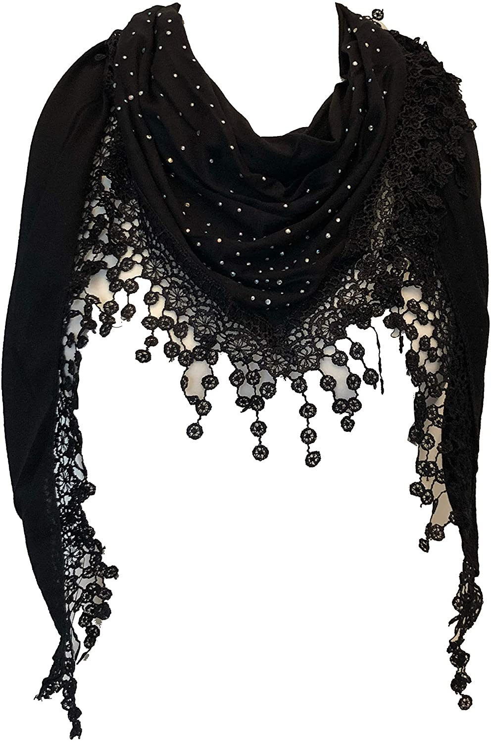 Black Jersey with sparkle and lace trimmed triangle Scarf Soft Summer Fashion London Fashion Fab Gift