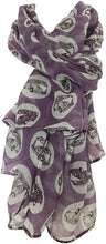 Load image into Gallery viewer, VW campervan design ladies long scarf, great for present/gifts. (Purple)