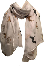 Load image into Gallery viewer, Pamper Yourself Now Ladies Scarf with Different Coloured Greyhound, Fantastic Womens Greyhound Gift. (White)