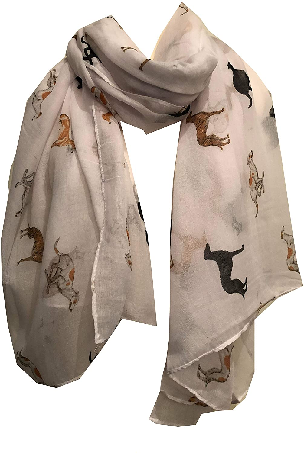 Pamper Yourself Now Ladies Scarf with Different Coloured Greyhound, Fantastic Womens Greyhound Gift. (White)