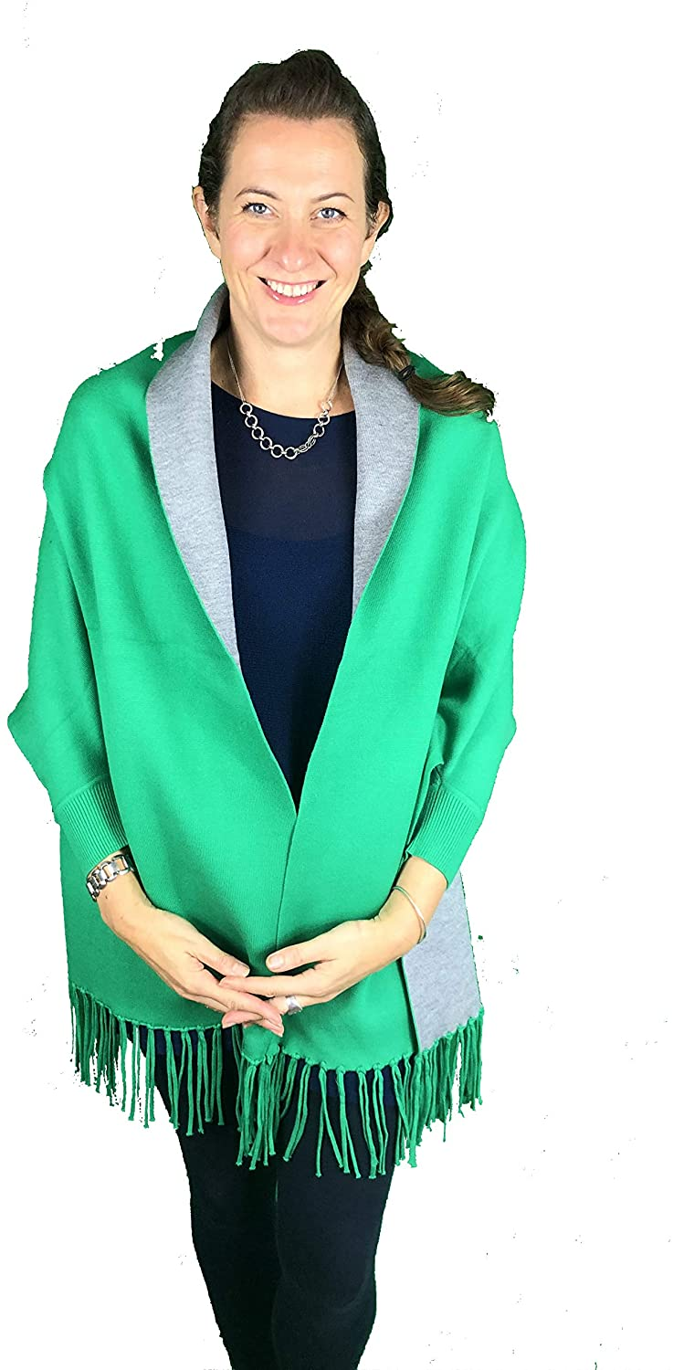Pamper Yourself Now ltd Ladies Very Stylist Apple Green and Grey Warm and Cosy Reversible wrap/Cape