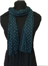 Load image into Gallery viewer, Pamper Yourself Now Green Spotty Print Long Thin Shiny Scarf with Pretty Sparkle Lovely for Evening wear