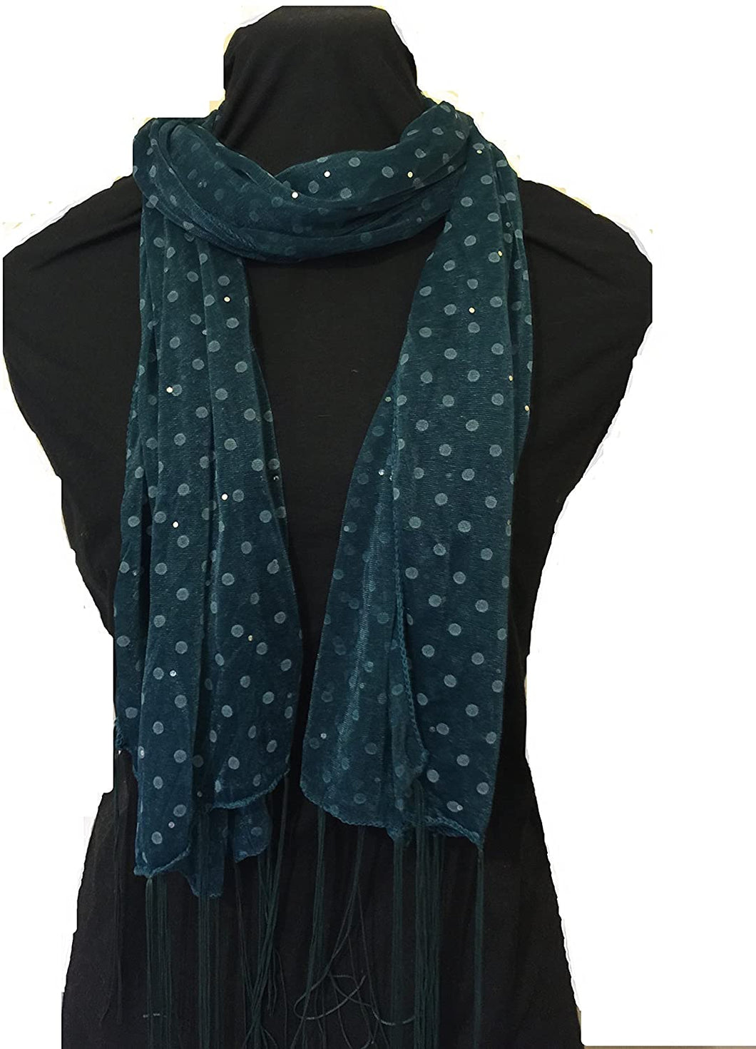 Pamper Yourself Now Green Spotty Print Long Thin Shiny Scarf with Pretty Sparkle Lovely for Evening wear