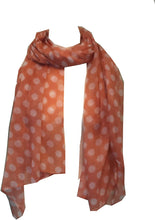 Load image into Gallery viewer, Pamper Yourself Now Peach with White Big spot Scarf/wrap