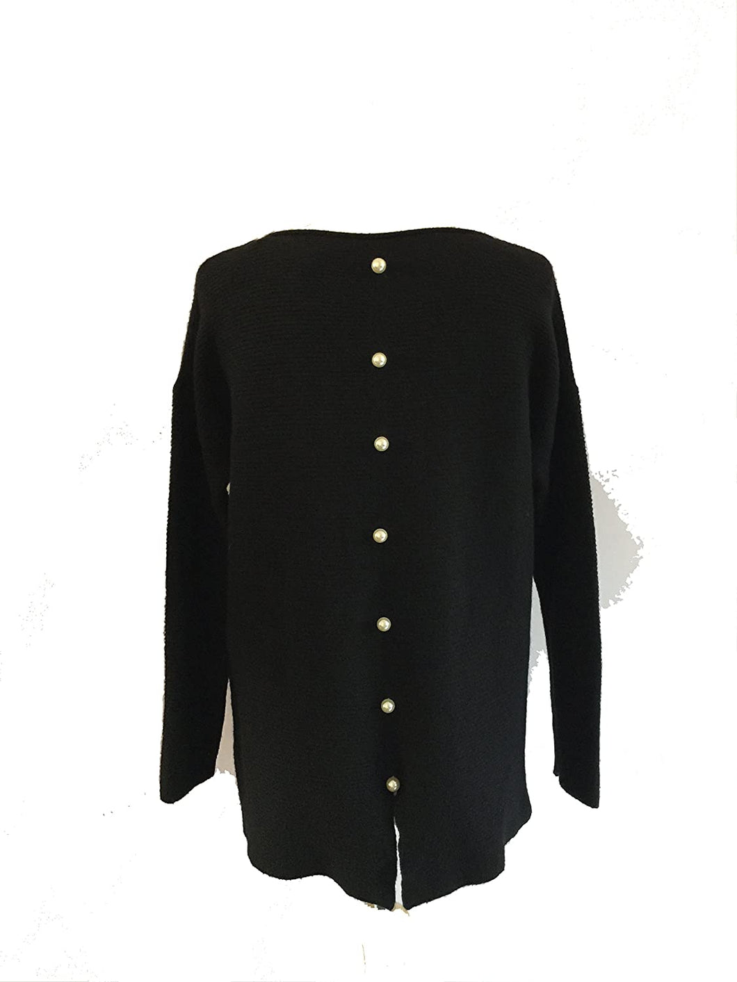 Pamper Yourself Now ltd Black Ribbed Soft Jumper Pearl Detail at Back. Made in Italy (AA40)