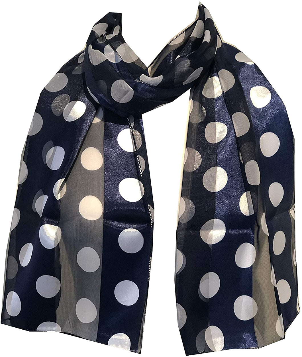 Navy with White Big spot Thin Pretty Scarf. Lovely with Any Outfit. 50's Style Scarf
