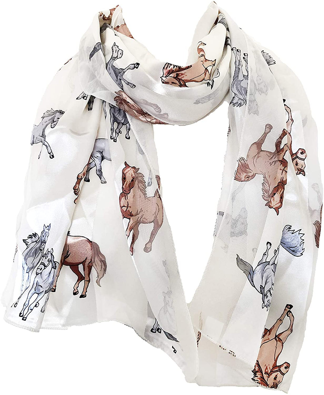 Pamper Yourself Now Cream Running Horse Shiny Thin Pretty Scarf