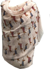 Load image into Gallery viewer, Pamper Yourself Now Pink Sausage Dog with Spotty Coat Long Scarf with Frayed Edge