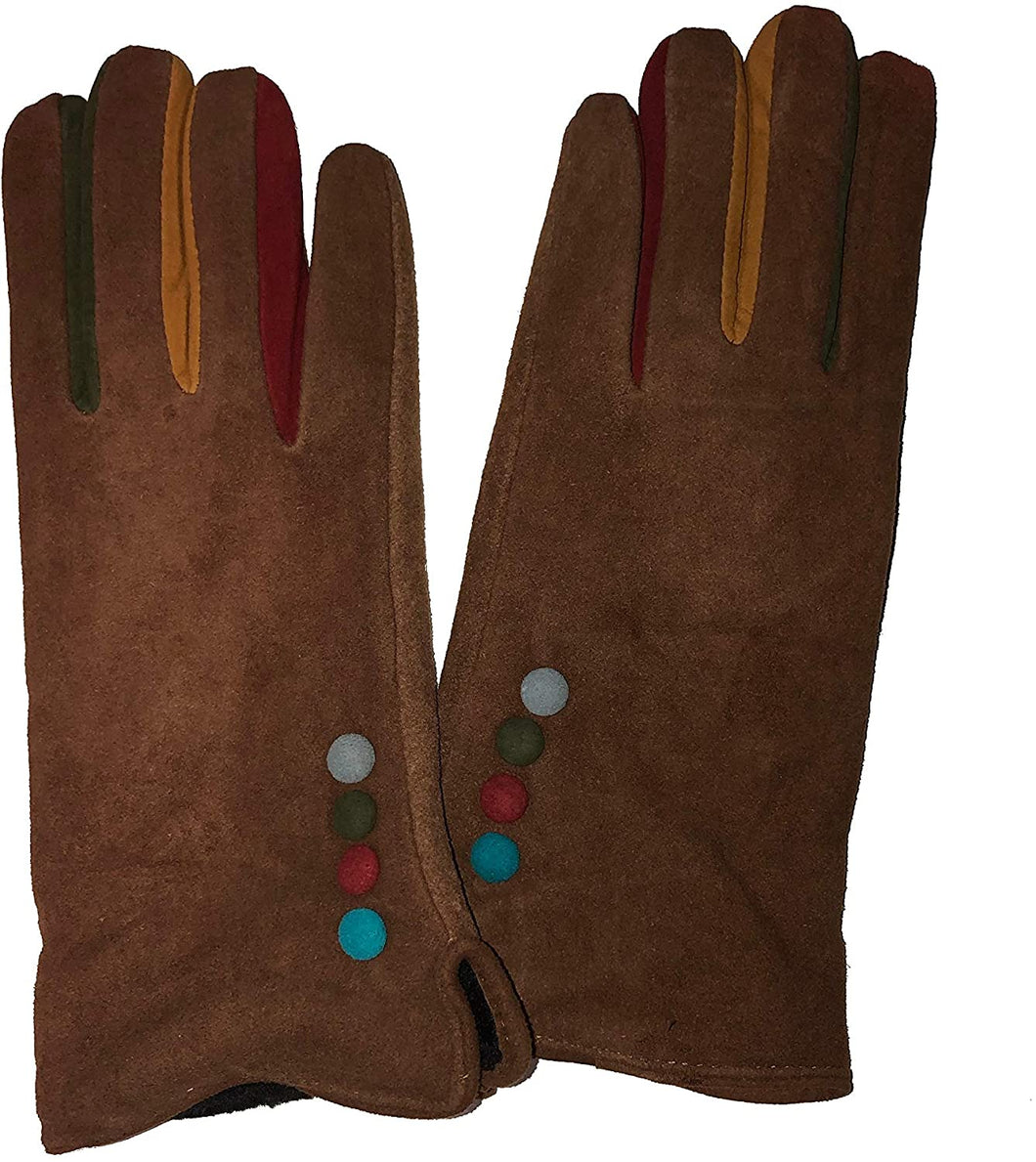 G1501 plain brown ladies Gloves with a splash of colour between the fingers (medium)