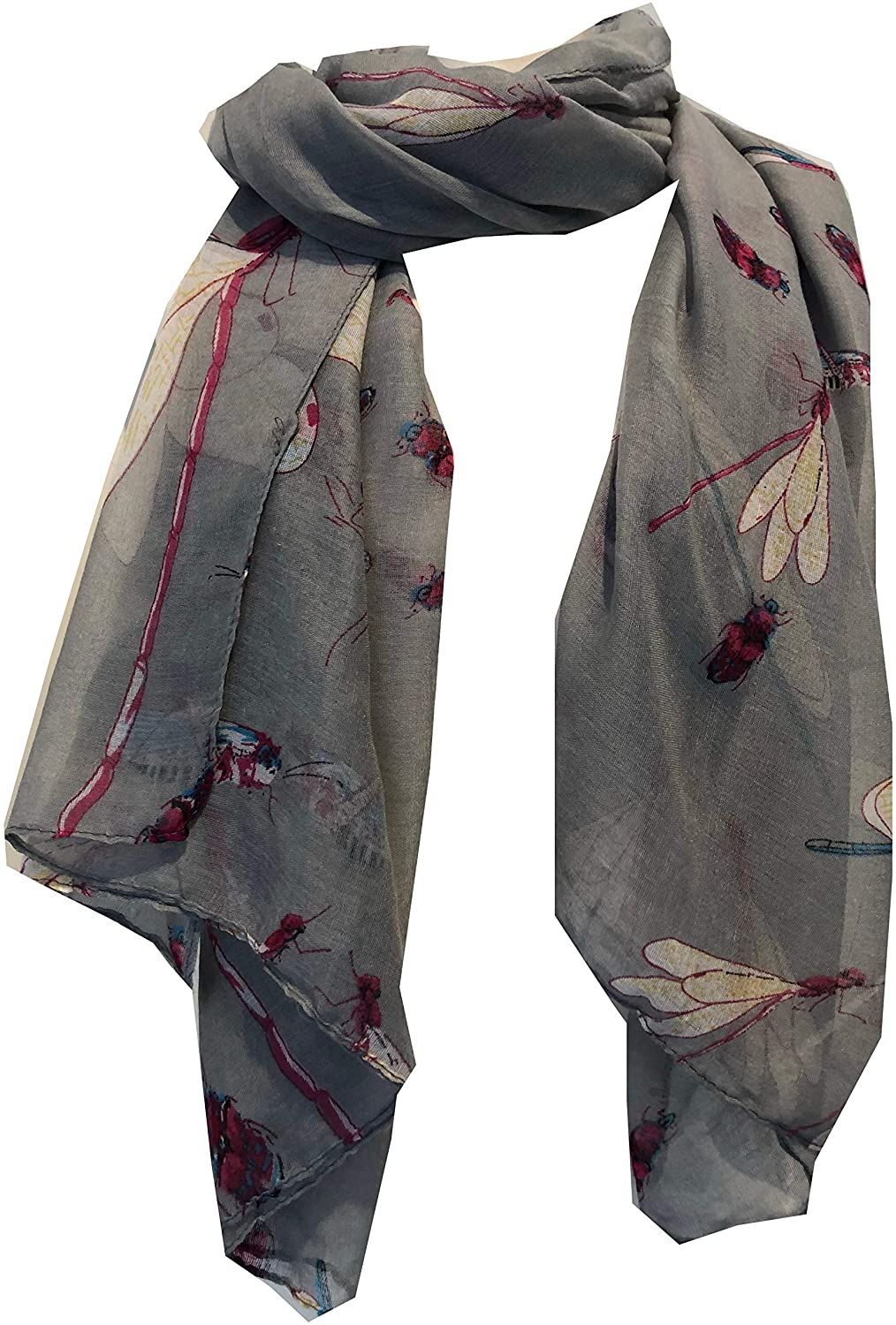 Pamper Yourself Now Grey with Dragonfly and Bugs Design Long Soft Scarf, Great Present/Gift.