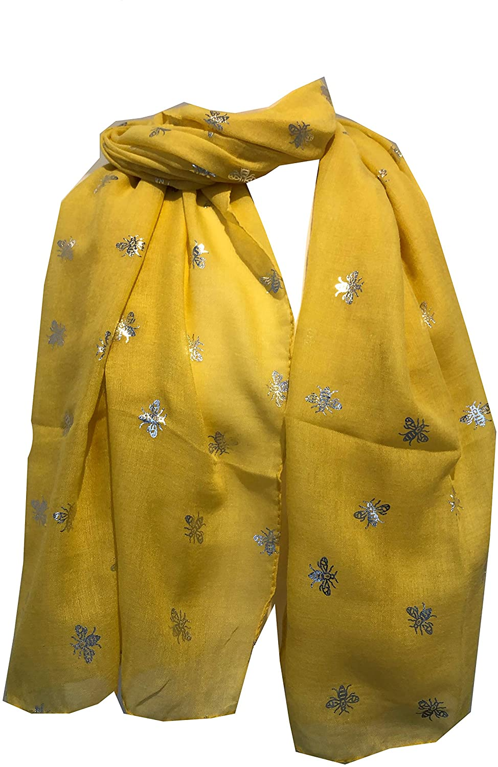 Pamper Yourself Now Yellow with Silver Bumble Bees Long Scarf. Great Present/Gift for bee Lovers.