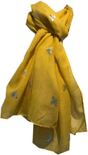 Load image into Gallery viewer, Pamper Yourself Now Yellow with Silver Bumble Bees Long Scarf. Great Present/Gift for bee Lovers.
