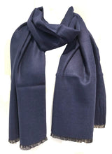 Load image into Gallery viewer, Navy plain colour frayed edge men's long Scarf