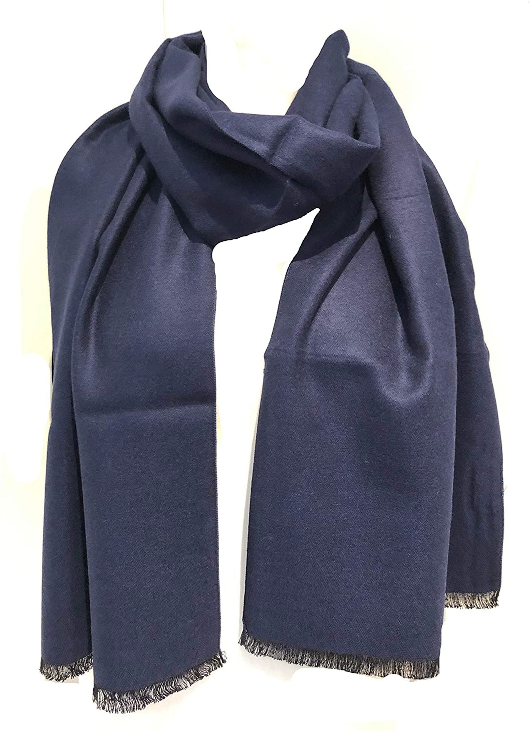 Navy plain colour frayed edge men's long Scarf