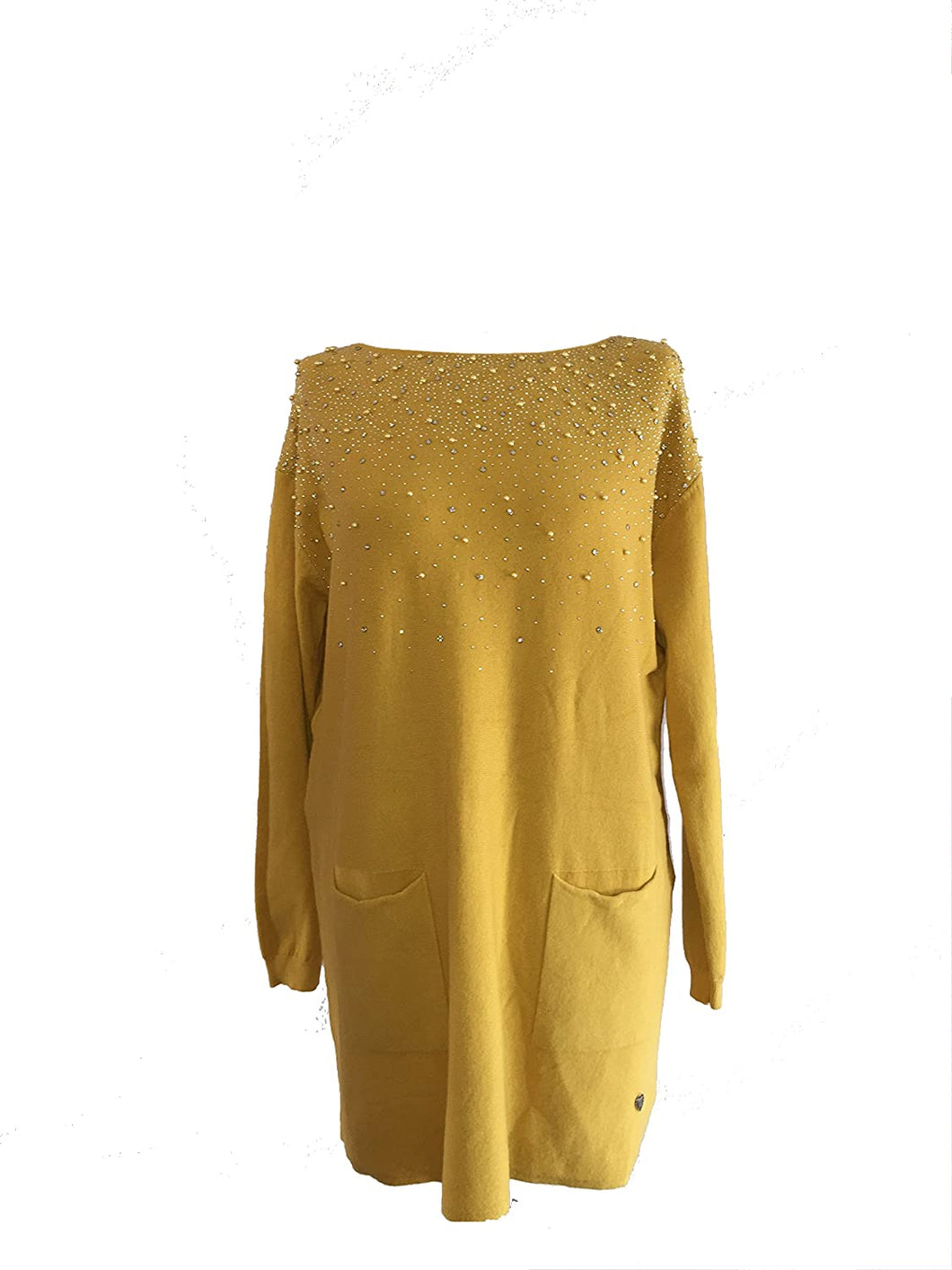 Pamper Yourself Now ltd Mustard Soft Tunic with Sequins and Pearls Jumper with Pockets. Made in Italy (AA31)