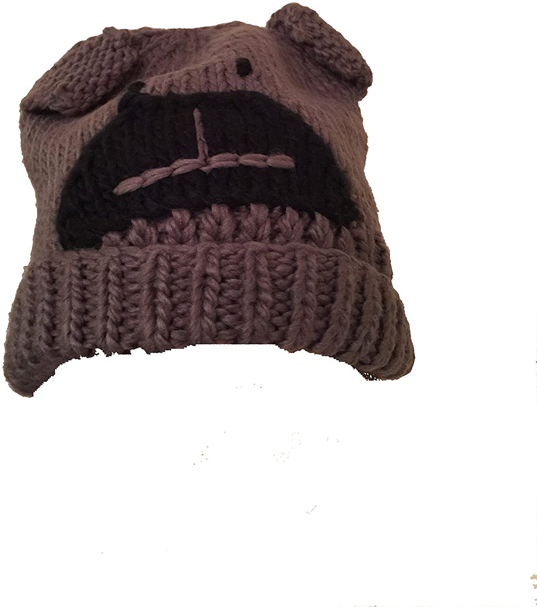 Pamper Yourself Now Grey Beanie hat with buldog Design