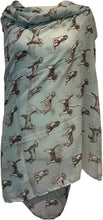 Load image into Gallery viewer, Pamper Yourself Now Light Green with Grey Beagles Dogs Scarf Fashion Long Soft wrap/Sarong. Great Present/Gift for Dog Lovers.