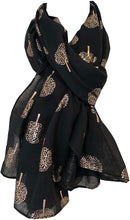 Load image into Gallery viewer, Pamper Yourself Now Black with Gold Foiled Mulberry Tree Design Ladies Scarf/wrap. Great Present for Mum, Sister, Girlfriend or Wife.