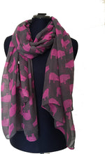 Load image into Gallery viewer, Dark grey with fuchsia pink pig design scarf/wrap. long ladies soft scarf