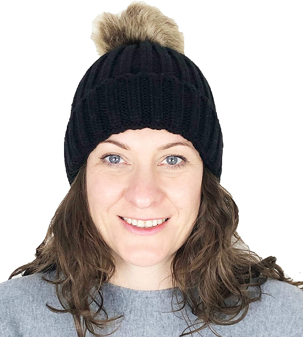 Pamper Yourself Now Black hat/Beanie with detatchable Fake Fur Bobble pom pom