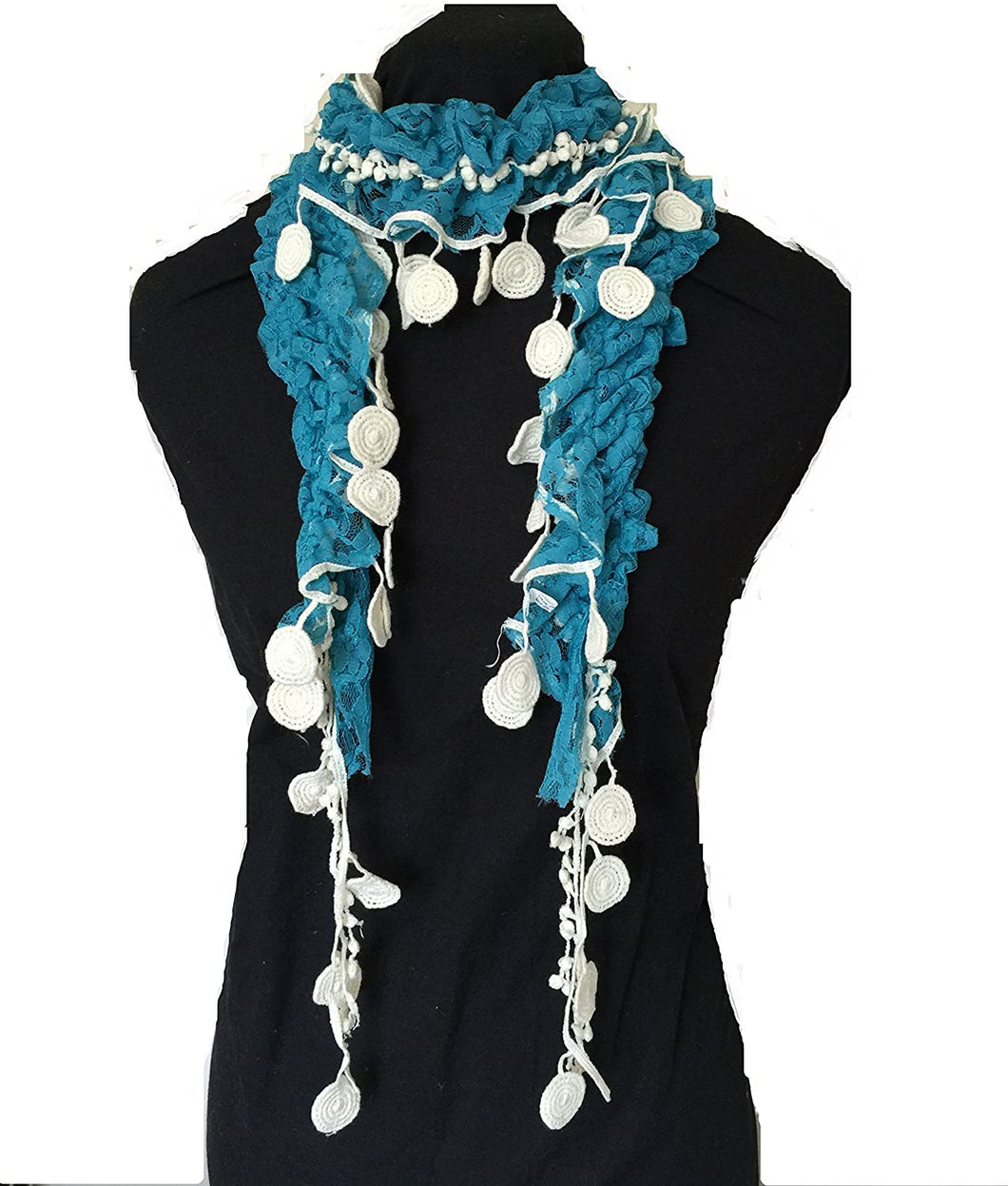 Pamper Yourself Now Blue with Cream Circle Long Thin lace Scarf with Tassels, Lovely Fashion Item. Fantastic Gift