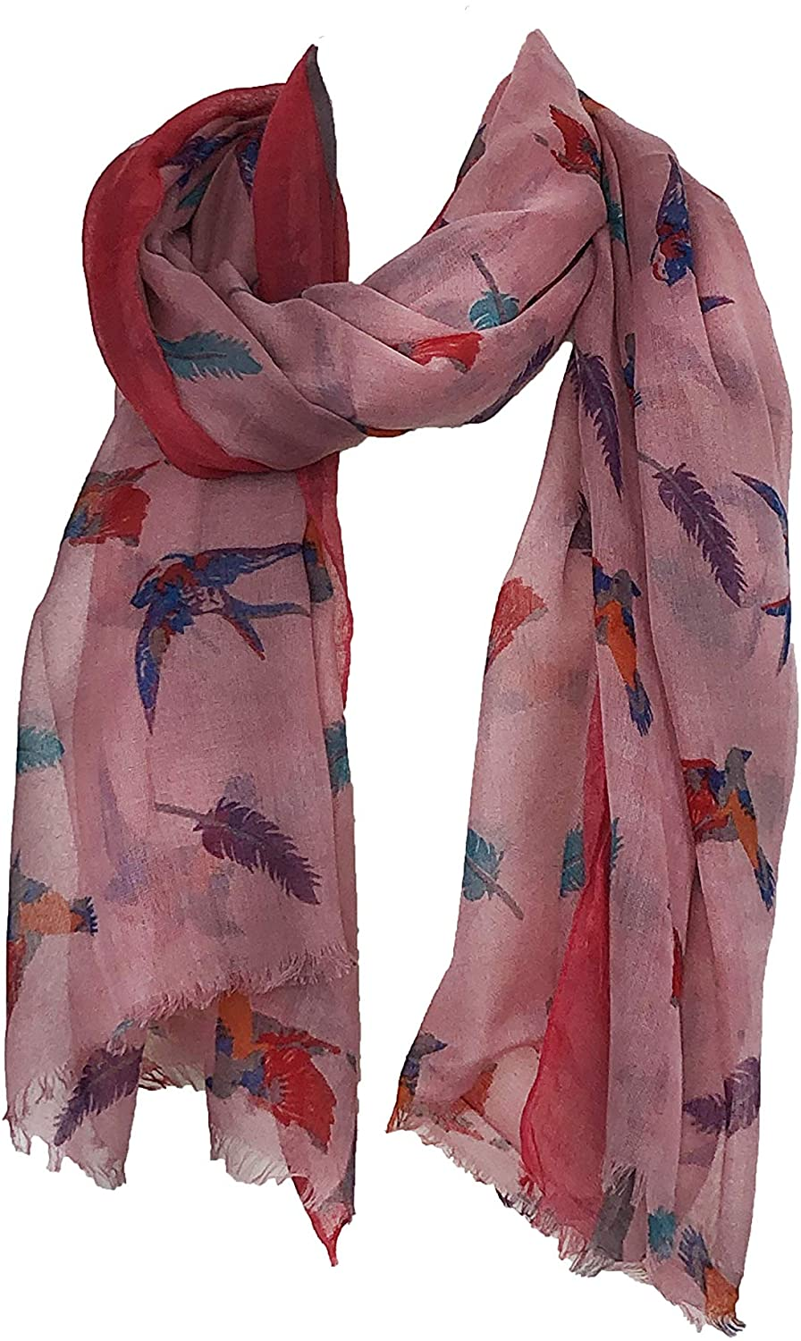 Pamper Yourself Now Pink with Pink Edge Swallow and Feather Scarf Multi Coloured Oversized Soft wrap with Frayed Edge