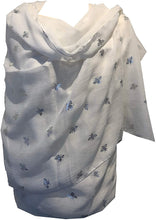 Load image into Gallery viewer, Pamper Yourself Now White with Silver Bumble Bees Long Scarf. Great Present/Gift for bee Lovers.