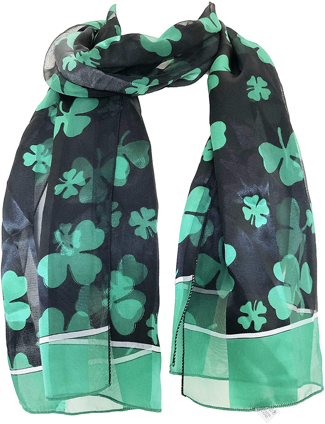 Pamper Yourself Now Big Black with Green Four Leaf Clover Scarf Thin Pretty Scarf