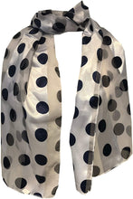 Load image into Gallery viewer, Pamper Yourself Now White with Navy Big spot Thin Pretty Scarf. Lovely with Any Outfit