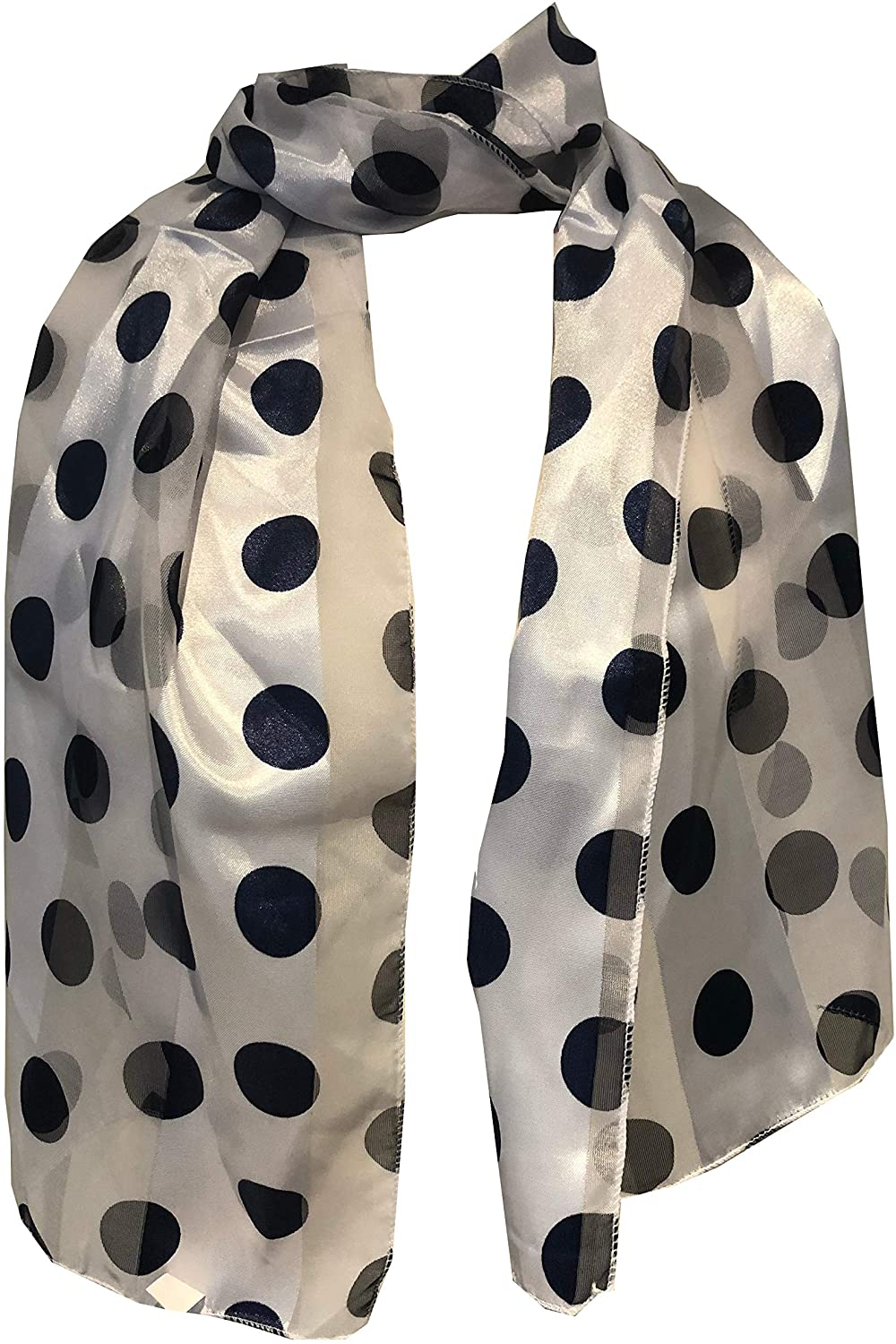 Pamper Yourself Now White with Navy Big spot Thin Pretty Scarf. Lovely with Any Outfit
