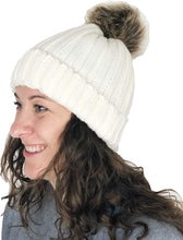 Load image into Gallery viewer, Pamper Yourself Now Cream hat/Beanie with detatchable Fake Fur Bobble pom pom