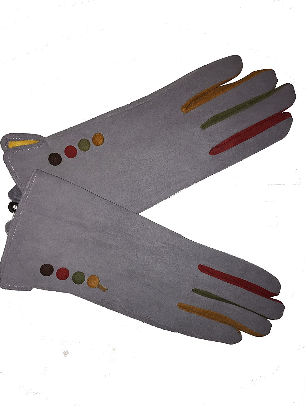 G1501 Plain grey ladies Gloves with a splash of colour between the fingers