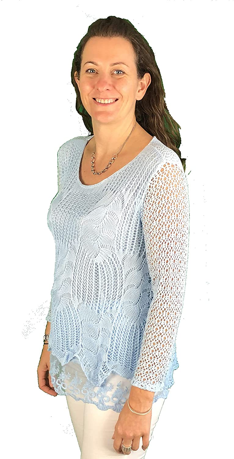 Pamper Yourself Now ltd Ladies Sky Blue Crochet lace Long Sleeve top. Made in Italy (AA57)