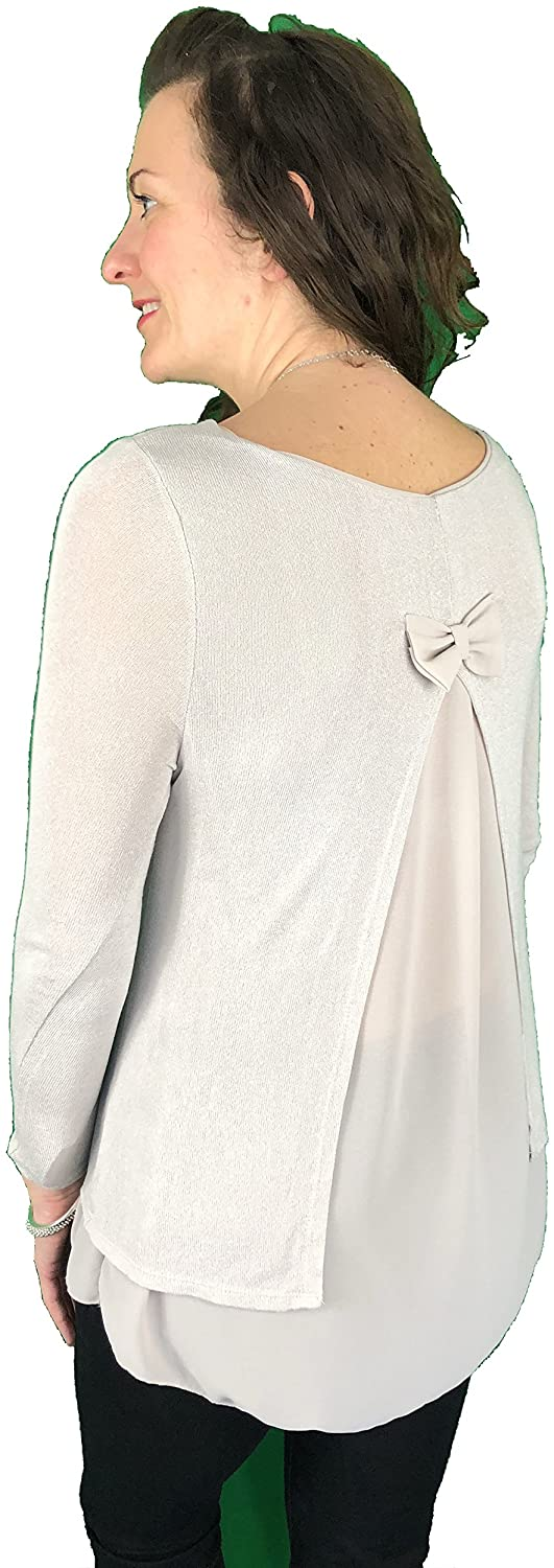 Pamper Yourself Now ltd Beige Long Sleeves Split Back Bow Chiffon top. Made in Italy (AA41)