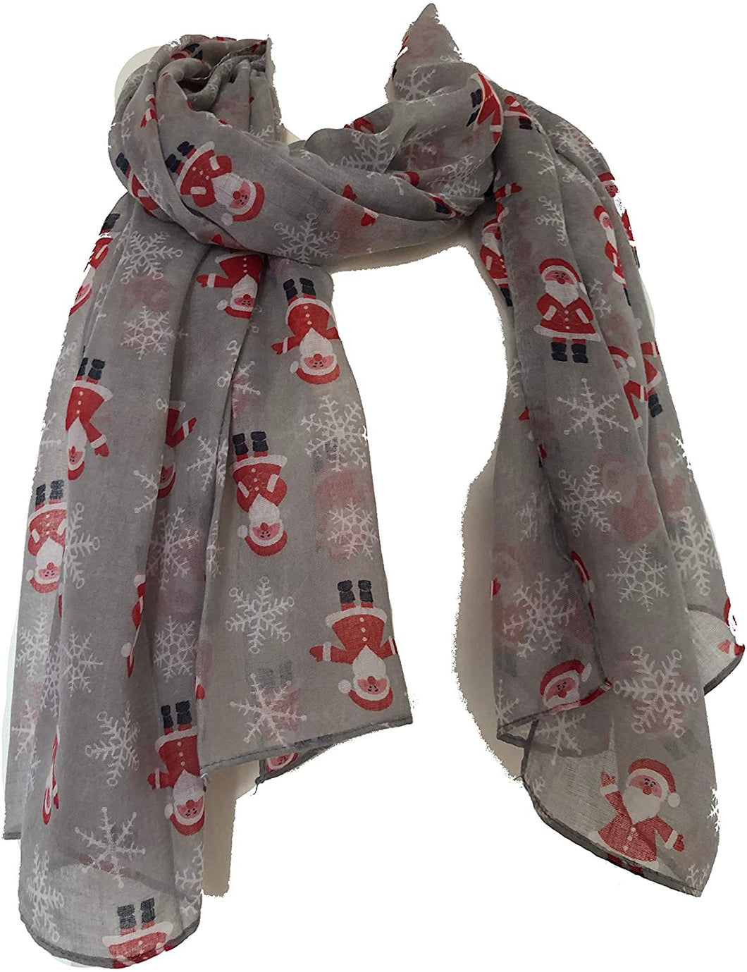 Pamper Yourself Now Grey Father Christmas Ladies Scarf