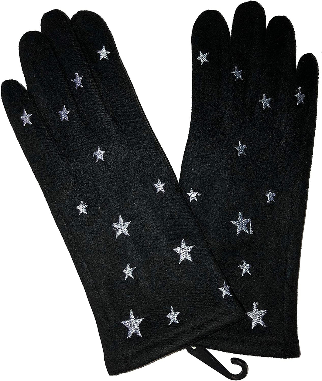 G1908 Very stylish Ladies gloves with white embroidered stars, great present/gift.